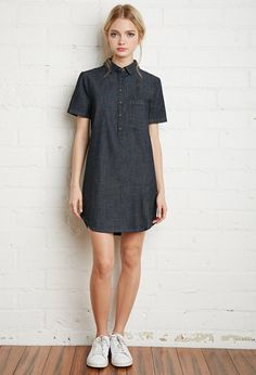 Denim Shirt Dress - Dresses - 2000131898 - Forever 21 EU English