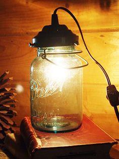 Transform a wire bail mason jar into a table side lamp #masonjars