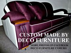 manhattan deco lounge........unique lounge suite made by deco furniture large range of fabrics to choose from ......fully sprung seats,backs, arms,cushions website www.decofurniture...