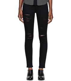 @Who What Wear - Frame Denim                 Black Ripped Le Color Skinny De Jeanna Jeans ($200)