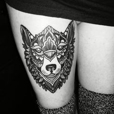 Just got this! Mandala wolf tattoo #wolf #tattoo #mandala #blackwork #black #thigh #tattoo #thightattoo