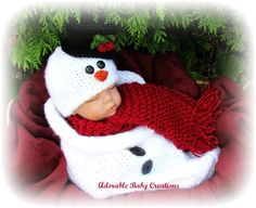 Baby Snowman Hat and Cocoon Set,  Handmade, Knitted, Great Photo Prop, Winter, 0-3 Months