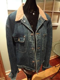 Very Nice Men Polo Ralph Lauren Dungarees Denim Jean Jacket Corduroy Size XL