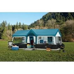 8 - 10 Person Best Camping Hiking Fishing Outdoor Waterproof Tent Only 10 In Stock Order Today! Product Description: Family Camping Tent Woodlands 13 x 10 Rooms Extended Awnings x base tent, with extended awnings on f Best Tents For Camping, Cool Tents, Camping Glamping, Outdoor Camping, Camping Gear, Camping Hacks, Camping Supplies, Camping Cabins, Camping Storage