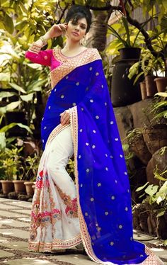 Picture of Fashionable Floral White and Royal Blue Color Saree