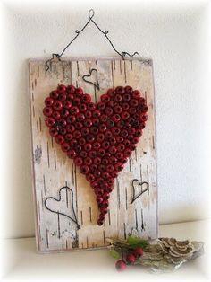 Srdce na březové kůře Autumn Crafts, Nature Crafts, Heart Artwork, Diy And Crafts, Arts And Crafts, Primitive Christmas, Autumn Home, Diy For Kids, Fall Decor