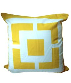 Design Darling home decor & monogrammed gifts — Geometric Pillow Cover — Yellow