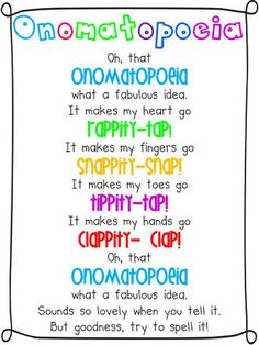 The little old lady who was not afraid of anything.use for teaching onomatopoeia Teaching Poetry, Teaching Language Arts, Classroom Language, Classroom Fun, Teaching Writing, Teaching Tips, Teaching English, Teaching Spanish, Future Classroom