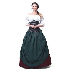 89f9830d335f Women's 2-PC Medieval Leather Ruffled Off-Shoulder Cosplay Dress M-2XL 2  Colors