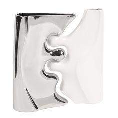 Contemporary 2 Piece Ceramic Puzzle Vase Set