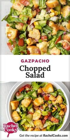 If you're looking for an easy side dish recipe, you're going to love this light and tasty Gazpacho Salad! I like to serve this salad as a side with either grilled salmon or air fryer salmon. Really, that's all you need for a satisfying and nutritious meal. Add a nice glass of chilled rosé or your favorite craft beer and life is good! Perfect for summer parties, potlucks and picnics. Easy Salad Recipes, Easy Salads, Summer Salads, Side Dish Recipes, Healthy Recipes, Easy Meals, Gazpacho, Grilled Vegetable Salads, Chilled Soup