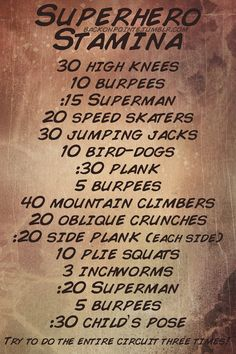 Need to fight some crime this weekend? Expecting to be hauling tail after some villains? You'll need strong muscles and a lot of stamina to keep up with them! Prepare yourself with this intense stamina-building workout.