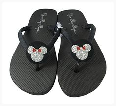 614aced6e Red and Silver Glitter Minnie Disney Flip Flop Sandals