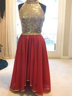 """Joy"" - Gorgeous Hi Neck Sleeveless Worship Garment / Gold & Red - Royalty Designs Boutique Praise Dance Wear, Praise Dance Dresses, Worship Dance, Royal Ballet, Garment Of Praise, Body Painting, Long Chiffon Skirt, Dance Outfits, Dress Patterns"
