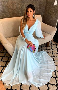 A-Line Chiffon Long Sleeves Prom Dresses Formal Evening Gowns 6011069 The Dress, Dress For You, Dress Long, Prom Dresses Long With Sleeves, Formal Dresses, Evening Dresses, Prom Gowns, Bride, Outfits