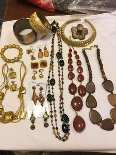 Large Costume Jewelry Earth tone Lot..glass Beads Wood,