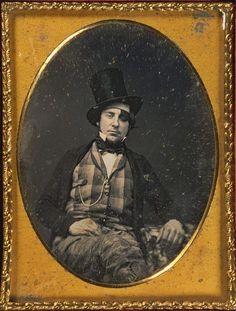 tuesday-johnson:  ca. 1840-60, [daguerreotype portrait of a gentleman wearing top hat and patch over left eye] via Harvard University's Houg...