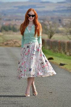 Unique Vintage Style Society - floral midi skirt and mint green cardigan