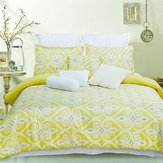 10Piece Comforter Set in Yellow DKLJ001 Queen * More info could be found at the image url.