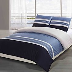 Features:  -Material: Cotton.  -Thread Count: 250.  Product Type: -Duvet set.  Style: -Country/Cottage.  Color: -Navy/Denim/Tan.  Pattern: -Striped.  Material: -Cotton.  Thread Count: -200. Dimensions