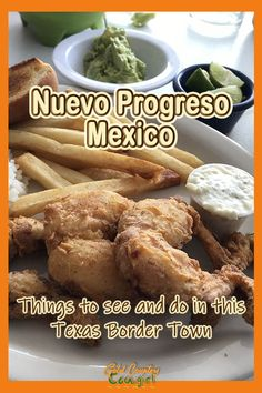 There are 1254 miles of common border between Texas and Mexico with 28 International Bridges where people can cross legally between the two countries. In this post you'll discover why so many people visit Texas border towns like Nuevo Progreso. Find out all there is to see and do along with recommendations for where to eat. #travel #usatravel #mexico #bordertowns #Texas Wine Recipes, Great Recipes, Visit Texas, Mango Margarita, Red Snapper, Entrees, Mexico, Lunch, Food