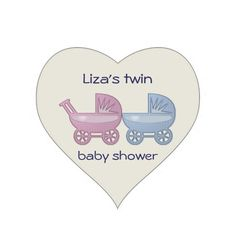 pink and blue baby buggy heart sticker