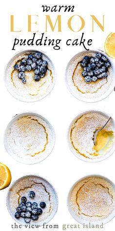 Flourless Warm Lemon Pudding Cake this easy self-saucing lemon sponge cake dessert is downright magical. Pudding Desserts, Lemon Pudding Cake, Lemon Desserts, Lemon Recipes, No Bake Desserts, Best Dessert Recipes, Delicious Desserts, Cake Recipes, Beef Recipes
