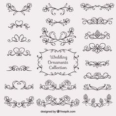 Colección de bocetos de ornamentos de boda Vector Gratis