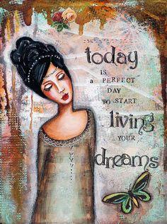Whimsical Art - Live Your Dream - Inspirational Art - Motivational Wall Art - Mixed Media Collage Art - Women Art - Giclee Art Print - Quote Art Du Collage, Collage Art Mixed Media, Wall Collage, Mixed Media Faces, Quote Collage, Quote Art, Art Journal Pages, Art Journals, Journal Prompts
