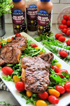 Fire up the grill this week and make these Red Wine Vinegar & Olive Oil Steaks with Arugula and Tomato Salad. Get the recipe here! Pork And Beef Recipe, Beef Recipes, Healthy Recipes, Healthy Moms, Red Wine Vinegar Recipes, Tomato Salad Recipes, Marinated Steak, Sirloin Steaks, Beef Casserole