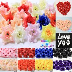 100 X Roses Artificial Silk Flower Heads Wholesale Lots Wedding decor F01