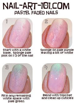tips & tricks  Be careful when you're adding the green. If you put too much over the purple it can end up looking muddy.  Always use a make-up sponge, not a kitchen sponge!  I brush the polish on my sponge, then dab it a couple times of a piece of paper so I don't apply too much on my nail. It's easier to add more than take away too much.  To clean up our cuticles, just dip a stiff, wide brush in acetone (a Q-tip works, too) and wipe away extra polish.