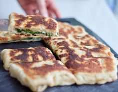 Spinach and Feta Gozleme Gozleme Recipe, My Favorite Food, Favorite Recipes, Spinach And Cheese, Dry Yeast, Tray Bakes, Yummy Food, Yummy Recipes, Stuffed Peppers