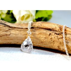 Swarovski Crystal Necklace, Clear Crystal Necklace, Wire Wrapped... ($53) ❤ liked on Polyvore featuring jewelry, necklaces, anniversary jewelry, clear quartz crystal necklace, wire wrapped jewelry, wire wrap pendant and swarovski crystal pendant