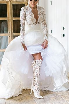 Over the knee Ivory Lace Wedding Boots - House of Elliot