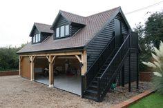 two storey garage Timber Garage, Garage Roof, Barn Garage, Garage Plans, Carport Designs, Garage Design, House Design, Carport Ideas, Garage Ideas