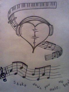 broken heart headphones drawings music tattoos by on DeviantArt Sad Drawings, Music Drawings, Cool Art Drawings, Pencil Art Drawings, Art Drawings Sketches, Broken Heart Drawings, Heart Break Drawings, Drawings Of Hearts, Broken Heart Boy