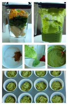 This healthy little muffin recipe 'hide' fruits and veggies is part of Veggie smoothies - Hide veggies in this nutrientpacked Fruit and Veggie Smoothie Muffins! It has spinach, bananas, and mango chunks Great for snacks or breakfastonthego! Veggie Smoothies, Smoothie Recipes For Kids, Smoothies For Kids, Healthy Snacks For Kids, Healthy Eating, Healthy Fruits, Veggie Muffins, Healthy Muffins, Spinach Muffins