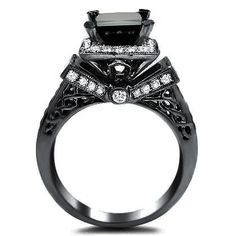 Amazon.com: 2.75ct Black Princess Cut Diamond Engagement Ring 14k Black Gold: Jewelry
