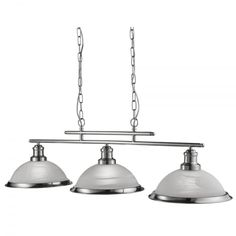 Searchlight Lighting Bistro 3 Light Ceiling Bar Pendant In Satin Silver Finish With Acid Glass Shades - Searchlight Lighting from Castlegate Lights UK