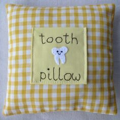 Yellow childrens tooth fairy pillow