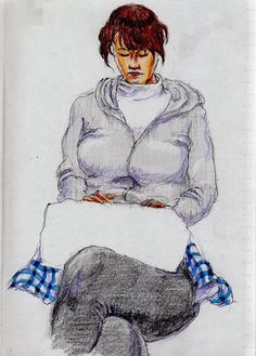 This is a sketch of the lady who put on the gray parka I drew in the train.