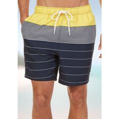 Nautica Marigold Engineered Swim Trunks ($70) ❤ liked on Polyvore featuring men's fashion, men's clothing, men's swimwear, marigold and nautica mens clothing