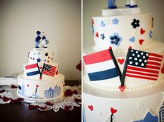 Red white and blue Dutch American-inspired wedding cake // photo by Ashley Bee Photography