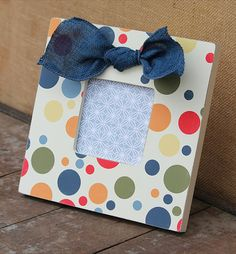 primary color polka dot frame with blue burlap by AveQcollection