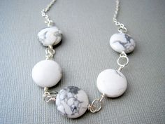White Necklace Howlite Stone Jewelry Gray and by urbandwellers, $23.00
