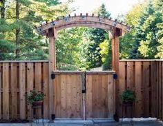 by Elemental Design Wooden Garden Gate, Garden Gates, Garden Trellis, Outdoor Gardens, Entrance, Pergola, Arch, Outdoor Structures, Plants