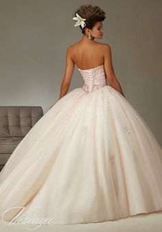 Quinceanera Dress 89069 Two-Tone Satin and Tulle Ball Gown with Beading