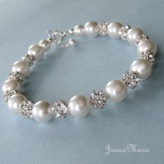 Bridal Pearl Bracelet Crystal Rhinestone Fire Ball by JaniceMarie, $45.00