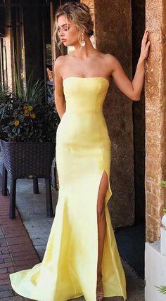 gorgeous prom dress, mermaid long prom dress, 2018 prom dress, strapless yellow mermaid long prom dress with slit